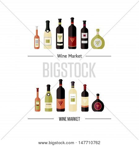 Set of wine bottles in flat. Isolated flat wine bottles. Different kinds of wine bottles. Logo elements for banners wine markets alcohol advertising bars and vineyards. Wine logotype