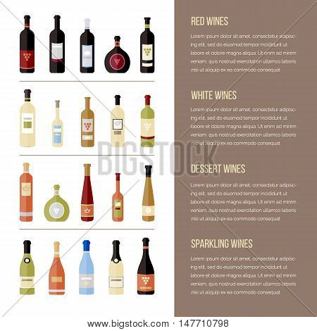 Set of wine bottles in flat. Isolated flat wine bottles. Different kinds of wine. Design elements for banners wine markets alcohol advertising bars and vineyards. Template for site menu infographics