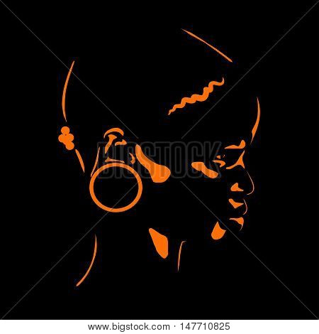 stylized portrait of an African woman in a profile on a black background
