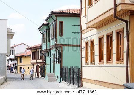 ESKISEHIR TURKEY - SEPTEMBER 03 2016: Old buildings in historic Odunpazari district. Odunpazari is one of the most populer touristy district with old Ottoman Buildings in Eskisehir.
