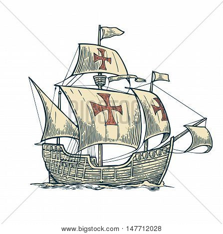 Sailing ship floating on the sea waves. Caravel Santa Maria. Hand drawn design element. Vintage vector engraving illustration for poster Day Columbus . Isolated on blue background.