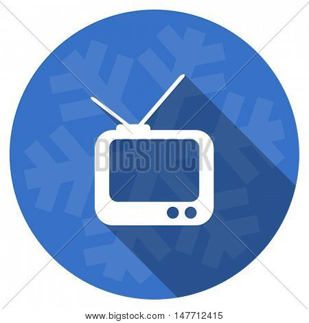 tv blue flat design christmas winter web icon with snowflake