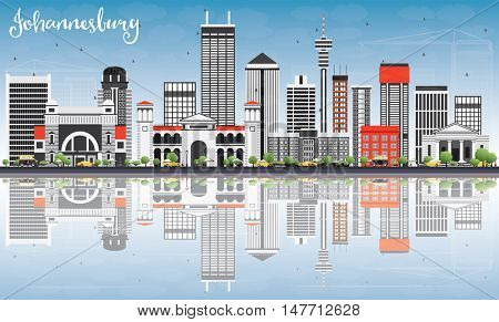 Johannesburg Skyline with Gray Buildings, Blue Sky and Reflections. Vector Illustration. Business Travel and Tourism Concept with Johannesburg Modern Buildings. Image for Presentation and Banner.