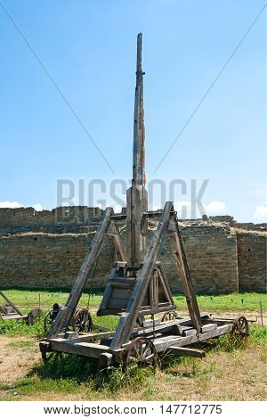 Trebuchet in old ottoman fortress outdoor shot