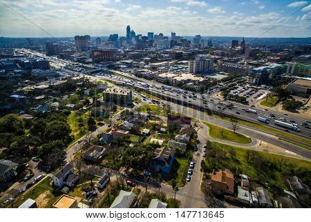 Austin Texas Skyline Cityscape over I-35 industrial Progress Capital Cities Urban Sprawl dramatic Sky on a sunny summer day Over central Texas