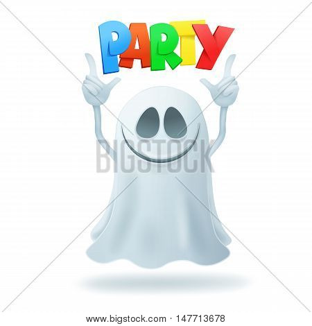 Smiley cartoon ghost character party concept card. Vector illustration