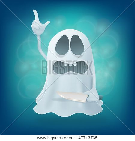 funny upset cartoon ghost character with knife. Vector illustration
