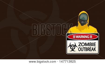 illustration of man in yellow biohazard protective siut with zombie sign on brown background