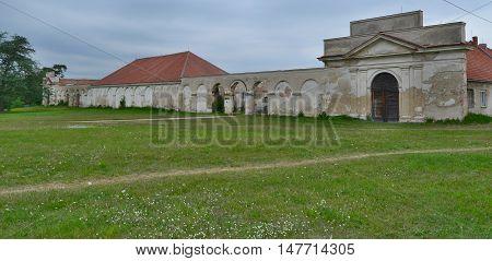 dilapidated historical building Novy Dvur historic landmark historical Lednice-Valtice area Czech Republic
