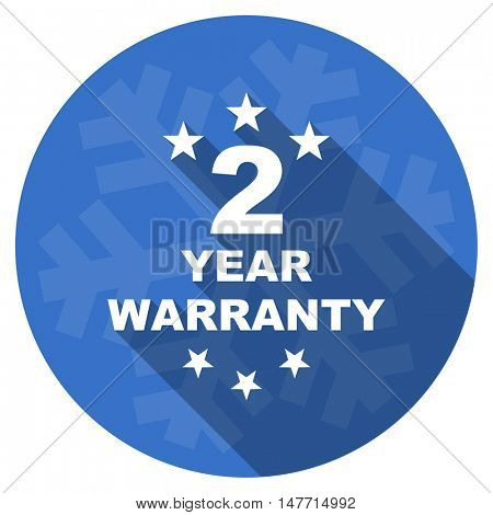 warranty guarantee 2 year blue flat design christmas winter web icon with snowflake
