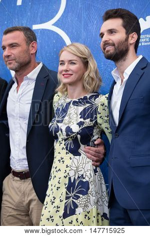 Liev Schreiber, Naomi Watts, Andrea Iervolino  at the photocall for The Bleeder at the 2016 Venice Film Festival. September 2, 2016  Venice, Italy