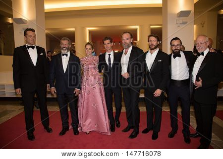 Vince Vaughn, Mel Gibson, Teresa Palmer, Andrew Garfield,  Hugo Weaving , Luke Bracey  at the premiere of Hacksaw Ridge at the 2016 Venice Film Festival. September 4, 2016  Venice, Italy