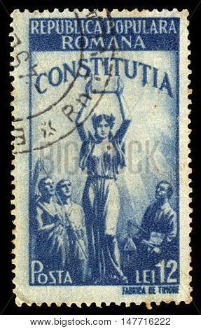 ROMANIA - CIRCA 1948: A stamp printed in Romania shows allegorical image of the new Constitution, series new constitution, blue, circa 1948