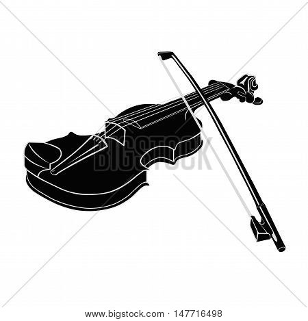 Black - White Musical instrument violin with fiddlestick on a white background. Vector illustration. Isolated object.