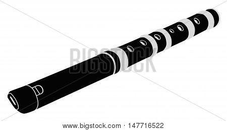 Flute. Musical instrument. Black - white vector illustration.