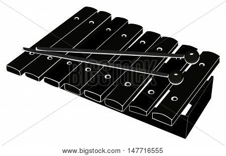 Xylophone with mallets. Black - white vector illustration on white background. Isolated object.