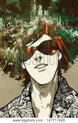 double exposure concept of portrait man with night city street painting, illustration