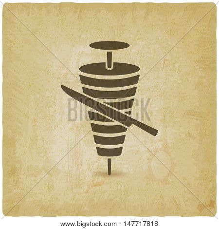 doner kebab with knife old background. vector illustration - eps 10