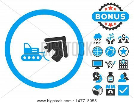 Demolition icon with bonus design elements. Vector illustration style is flat iconic bicolor symbols, blue and gray colors, white background.