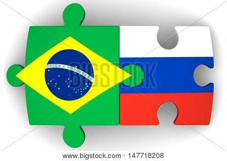 Cooperation of Russia and Brazil. Puzzles with flags of the Russian Federation and Brazil on a white surface. The concept of coincidence of interests in geopolitics. Isolated. 3D Illustration