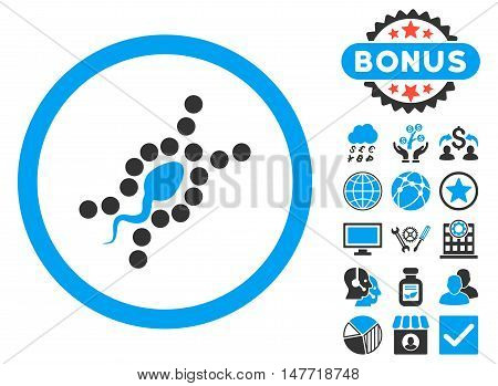 DNA Replication icon with bonus elements. Vector illustration style is flat iconic bicolor symbols, blue and gray colors, white background.