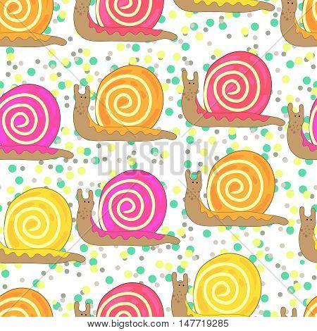 Cartoon snail seamless. Vector pattern on dots background.