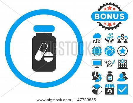 Drugs Phial icon with bonus pictures. Vector illustration style is flat iconic bicolor symbols, blue and gray colors, white background.