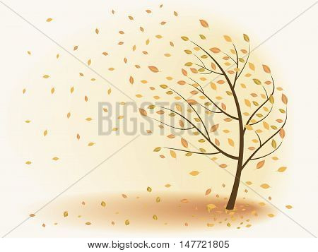Autumn tree leaves are falling the wind. Vector illustration on a beige background.
