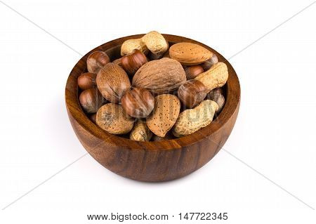Mixed Nuts In Shells In A Bowl