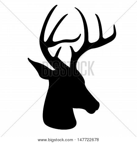deer head vector illustration  black silhouette profile