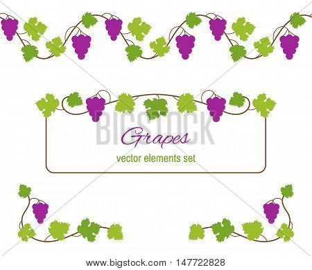 Vector design elements with bunches of grapes and vines.
