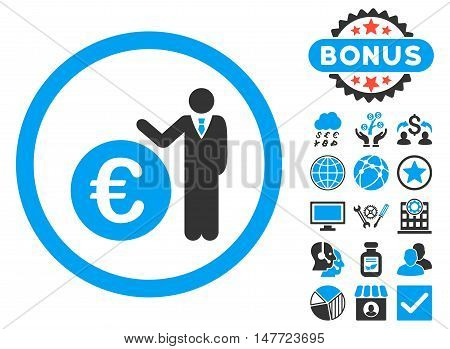 Euro Economist icon with bonus pictogram. Vector illustration style is flat iconic bicolor symbols, blue and gray colors, white background.