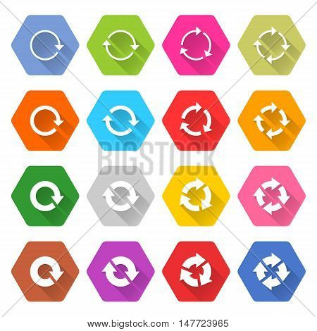 Flat arrow icon 16 set rounded hexagon web button on white background. Refresh reload synchronize loop reset rotation repeat sugn. Vector illustration internet design graphic element 10 eps poster