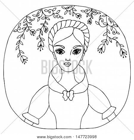 Portrait beautiful girl in the dress with flower and leaves. Mono color black line art element for adult coloring book page design.