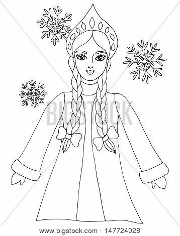 Snow queen winter girl with snowflake. Mono color black line art element for adult coloring book page design.