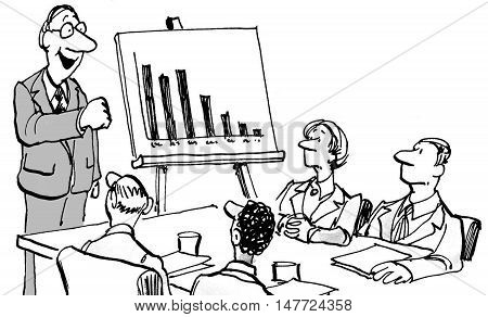 B&W business illustration of a team looking at a chart with declining sales and a boss trying to give them a pep talk.