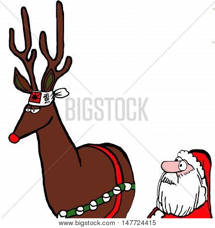 Color illustration of Santa concerned that the red-nosed reindeer is wearing a kamikaze headband.