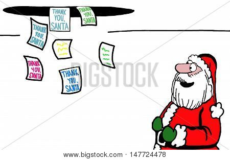 Color Christmas illustration showing a delighted Santa Claus as thank you notes arrive in the North Pole.