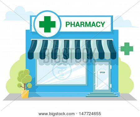 Facade pharmacy store with a signboard awning and symbol in shopwindow. Abstract image in a flat design. Front shop for Concept brochure or banner. Vector illustration isolated on white background