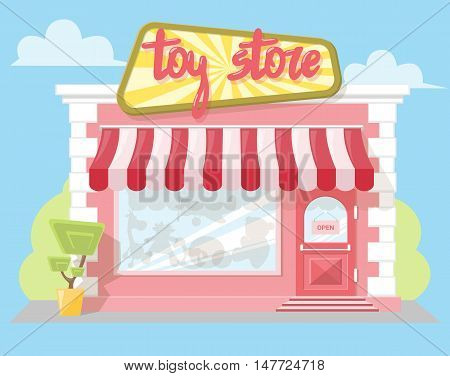 Facade toy store with a signboard awning and playthings in shopwindow. Abstract image in a flat design. Front shop for Concept brochure or banner. Vector illustration isolated on blue background
