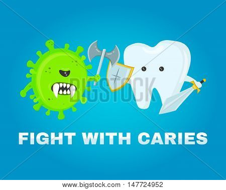 fighting tooth with caries. healthy teeth concept. disease battle. attacked by germs of caries. flat illustration vector