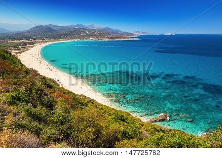 Beautiful view to Plage de Lozari near Lile Rousse Corsica France Europe.