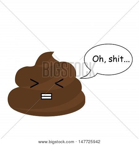 Cute vector poop with comic bubble. Turd emoticons design element icon. Vector illustration