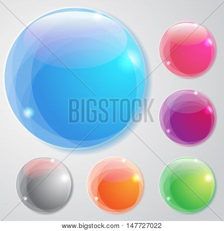 Set of the vector buttons for your design. shiny multicolor dots