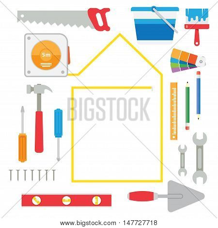 house remodel tools. Home repair service. Flat style toola for building remodel and repair house remodel home repair diy tools