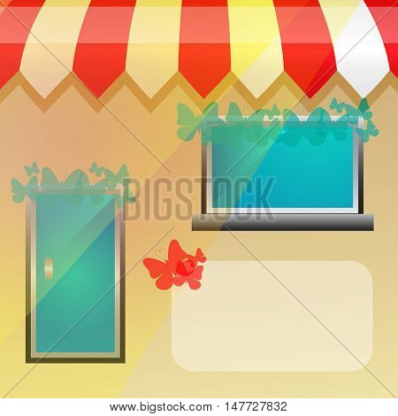 Vector storefront background with butterfly and place for text.