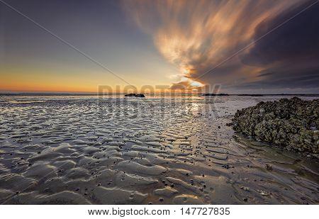 Seascape sunrise sunset in Mitchellville Park Beach in Hilton Head Island South Carolina