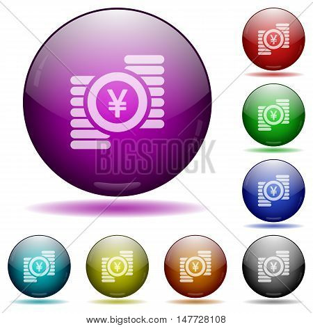 Set of color Yen coins glass sphere buttons with shadows.