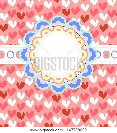 Cute frame with hearts pattern and place for text.