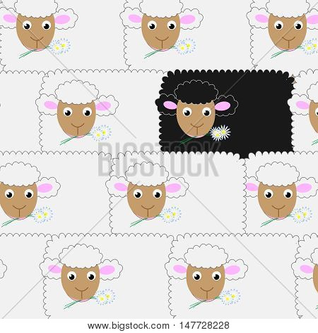 Vector funny background with cartoon cute sheeps.